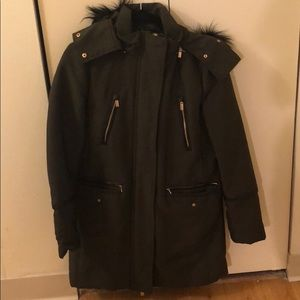 Military Green Winter Coat! gold/leather details